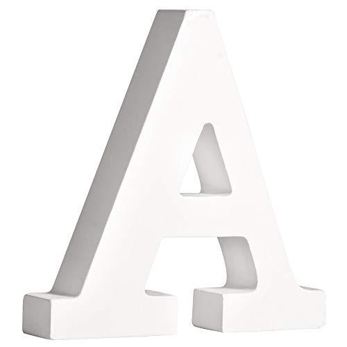 Rayher 62652000 MDF- Buchstabe A, weiß, 11 cm, Stärke 2 cm, 3D-Buchstaben Holz, Holz-Buchstaben groß