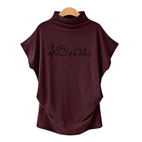 DREAMING-Camiseta De Manga Corta De Murciélago con Cuello En V para Mujer, Talla Grande, Primavera Y Verano, Manga Corta + Estampado