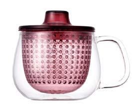Kinto Unimug Cup glas geïntegreerde theepot Maker brouwer met Infuser Strainer en deksel Small - 350ml - 12oz Wijn Rood