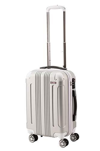[ムーク] スーツケース キャリーバッグ キャリーケース 機内持ち込み 大型 1年保証 ダブルキャスター (Mサイズ(4~7泊目安/約60L), シルバー)
