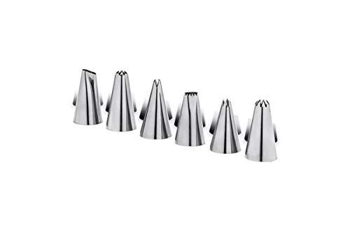 Conjunto 6 Peças Bico Para Confeitar Glacê, 2,7 x 4,7 cm, Aço Inox, Brinox
