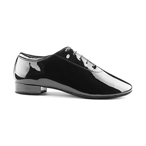 PortDance Herren Tanzschuhe PD020 Premium - Lack Schwarz - Normalweite - 2 cm Standard [EUR 47]