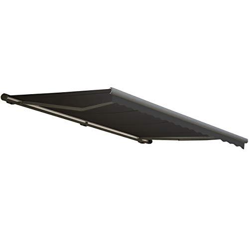 Mendler Elektrische Kassetten-Markise T122, Vollkassette Volant 4x3m ~ Polyester Anthrazit, grau