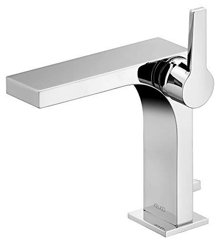 KEUCO Waschtisch-Armatur chrom für Waschbecken im Bad, mit Ablaufgarnitur Zugstange, Höhe 21cm, Design-Wasserhahn, Waschtischmischer, Edition 11