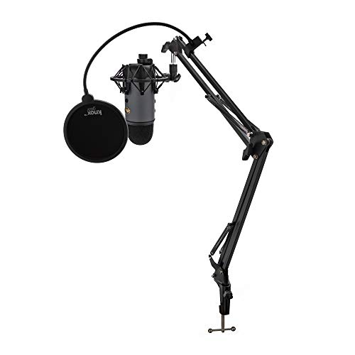 BLUE Microphone Yeti USB Microphone (Slate) Bundle with Knox Shock Mount, Studio Stand and Pop Filter (4 Items)