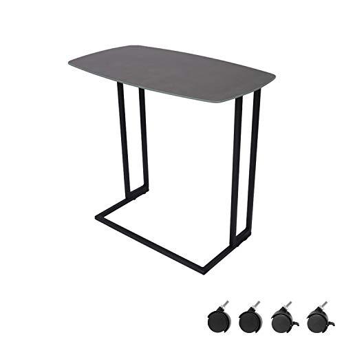 Moncot Mesa de centro rectangular moderna con estructura de metal negro, resistente al agua, mesa de café en negro gris, tablero de cristal templado con 4 ruedas ET220B-GY