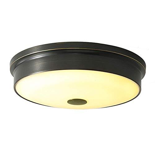 Z-GJM Led-plafondlamp, dimbaar, rond, zwart, koper en glas, lampenkap, inbouw, plafondlamp, lamp voor slaapkamer, woonkamer, gang, 32Cm48W 41cm72w