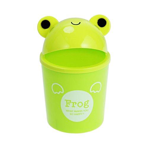 STOBOK Mini cubo de basura, animal de dibujos animados papeleras de plástico escritorio cubo de basura para el hogar Oficina, Rana (Verde)