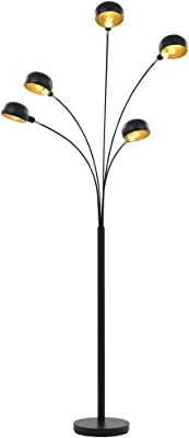 vidaXL Lampadaire Lampe sur Pied Lampe de Sol Lampe à Arc Lumière Eclairage Salon Chambre à Coucher Maison Intérieur 200 cm 5 x E14 Noir et Doré