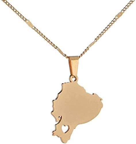 LBBYLFFF Collar de Acero Inoxidable con Colgante de Mapa de Ecuador, Collar con Cadena de mapas ecuatorianos, joyería