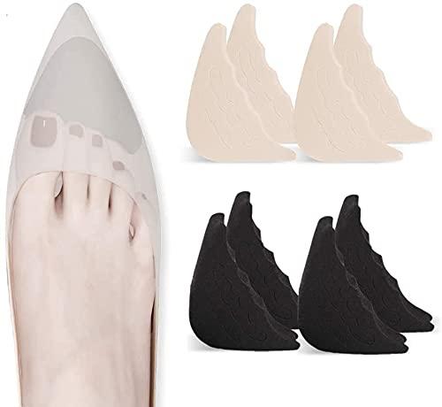 4 paia Inserti di riempimento della punta Tappo regolabile per scarpe riempitivo riutilizzabile per scarpe troppo grandi da donna, uomo, unisex, scarpe basse, scarpe da ginnastica - nero + beige