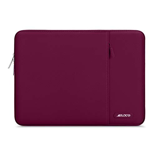 MOSISO Laptop Sleeve Bag Compatible with MacBook Air 13 inch 2018-2021 A2337 M1 A2179 A1932, MacBook Pro A2338 M1 A2289 A2251 A2159 A1989 A1706 A1708,Polyester Vertical Case with Pocket, Wine Red