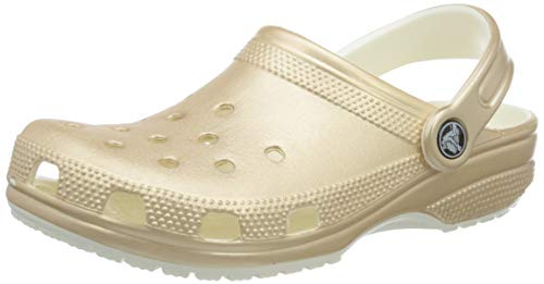 Crocs womens Classic Metallic Clog, Champagne, 11 Women 9 Men US
