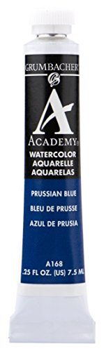 Grumbacher Academy Watercolor Paint, 7.5ml/0.25 Ounce, Prussian Blue (A168)