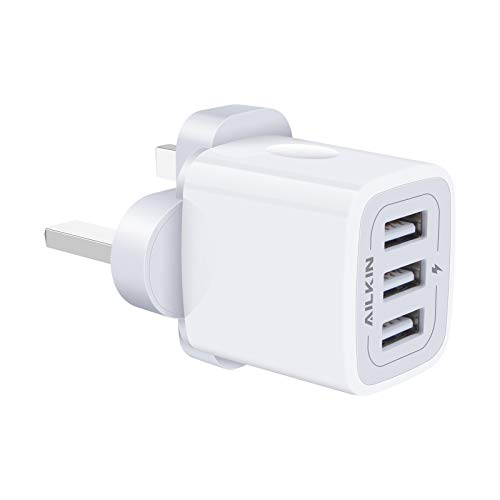 USB Charger Plug, AILKIN 3.1A 3-Port USB Wall Charger Power Adapter Fast Charging, Mains Charger Plug for iPhone 12 Mini 11 Pro X XR XS Max 8 7 6 Plus, Pad Air, Samsung S20 S10 S9 S8 S7