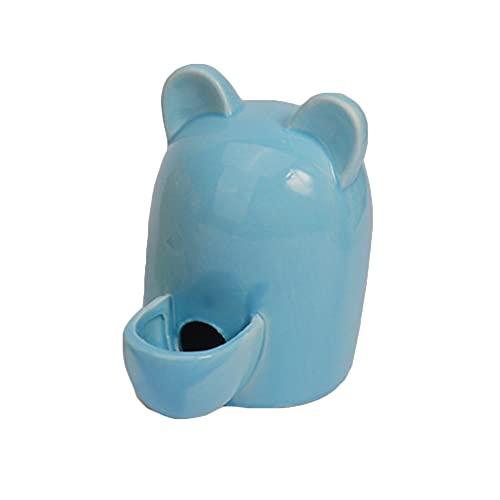 Kaimeilai Dispensador de Agua para Mascotas pequeñas, alimentador de Agua para Bebida de Botella para Mascotas, Bebedero silencioso de cerámica para Animales pequeños de 250 ml (Azul)