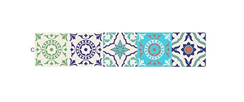 Romantische nacht 99 wallpapers 20 * 100 cm 5 stks 3D Portugese stijl tegels vloer muur sticker badkamer taille lijn muur Decor waterdicht zelfklevende PVC Art muurschildering D36