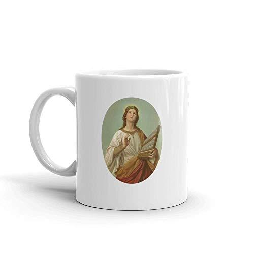 Porzellan Kaffeebecher,Große Teebecher,Porzellantasse,Keramik Tasse,Saint Cecilia Lithographie Nach Joseph Molitor Veröffentlicht 1870 Milch
