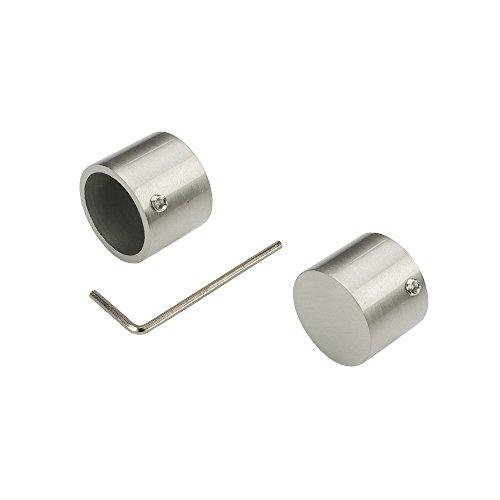 Liedeco Endkappe, Endstück 20 mm | edekstahl-Optik | 2 Stück