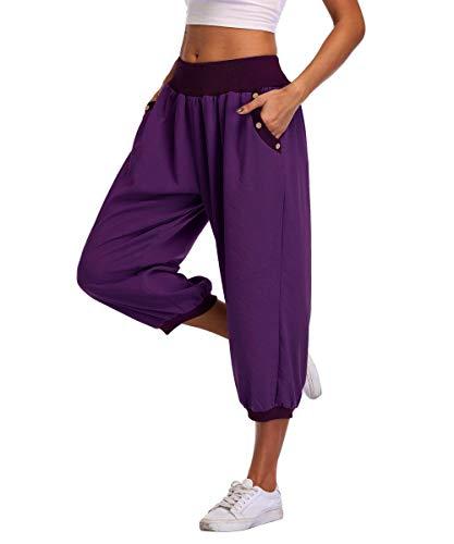 Dilgul Womens 3/4 Trousers Harem Pants Loose Cropped Pants Summer Casual Yoga Capris Crop...