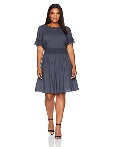 Junarose Women's Plus Size Short Sleeve Lace Detail Dress, Ombre Blue, 24W