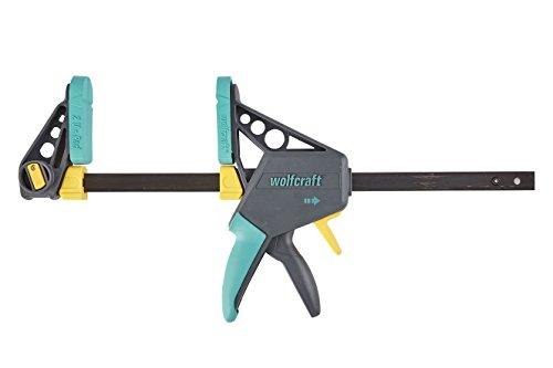 wolfcraft EHZ 100-300 Einhandzwinge PRO 3031000 | Kraftvolle Zwinge zum professionellen Spannen von Werkstücken mit nur einer Hand | Spannkraft: 120 kg - Spannweite: 300 mm