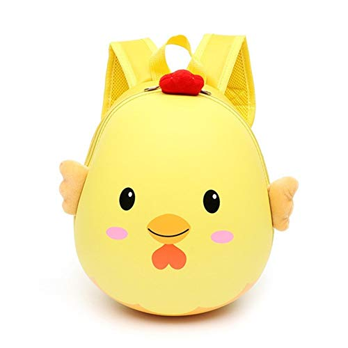 Kindergarten school bag children preschool backpack boy girl cute 3D small egg shell school bag children backpack (Color : Yellow, Size : A)