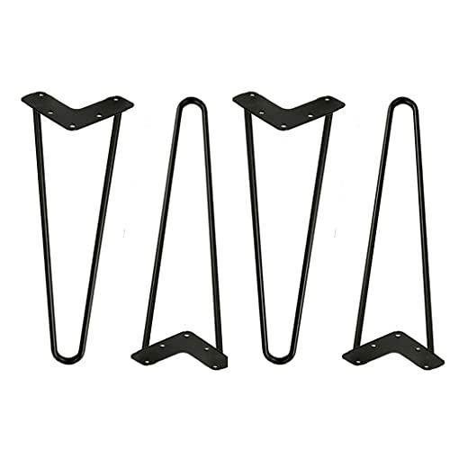 Pesado Hairpin Legs(16 Inch),DiáMetro 10mm,2 Varillas De(Pack 4 Patas), Alto 8 Hasta 28in,Moderno Industrial Muebles,Se Utiliza Para Mesas De Café,SofáS,Con Tornillos Y Bases Protectoras (Size:8i