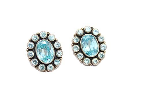 PH Stud Pendientes mujeres hechos a mano 925 piedras de circonio azul P584