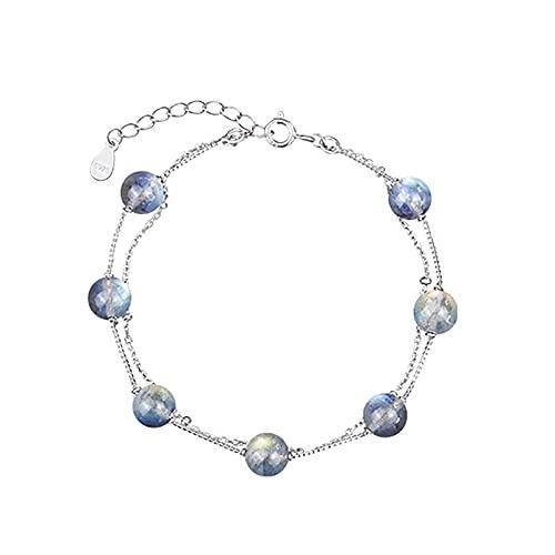 SMEJS S925 Pulsera de piedra lunar natural multicapa de plata esterlina Arco iris redondo Pulsera de doble capa Regalo de joyería para mujer, Plata