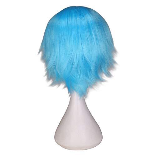 KYT-ma Rouge Blanc Noir Violet Cheveux Courts Cosplay Perruque Homme Party 30 cm Haute température Fibre Perruques de Cheveux synthétiques (Couleur : Light Green, Taille : 12inches)