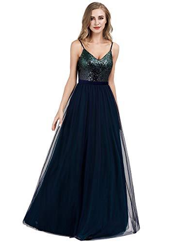 Ever-Pretty Sexy A-línea Vestido de Noche Lentejuela Cuello en V para Mujer Azul Marino/Verde Oscuro 48