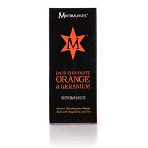 Montezumas Organic Dark Chocolate with Geranium and Orange, 100g (Pack of 4)