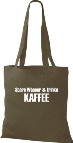Stoffbeutel SPARE WASSER & TRINKE KAFFEE Baumwolltasche, Beutel, Umhängetasche, Farbe olive