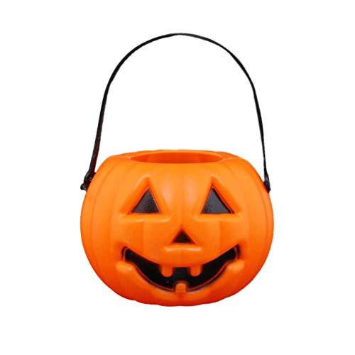 UKCOCO Iluminacin de Halloween, 2 piezas, farolillos de calabaza porttiles, LED, barril de calabaza, dulces, cristal, luz para fiestas