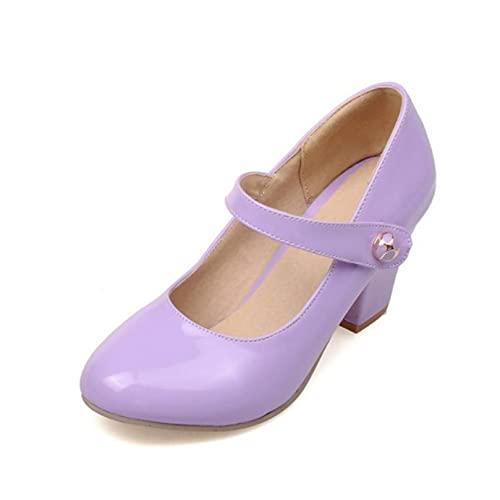 JOYOTER Zapatos de tacón medio para mujer, estilo retro Mary Jane, con...