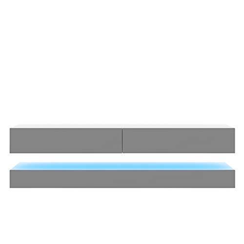 Selsey HYLIA - Meuble TV Suspendu/Meuble de Salon Mural (Blanc Mat/Gris Brillant, 140 cm, avec LED) 5903025500522 140 x 34 x 45 cm