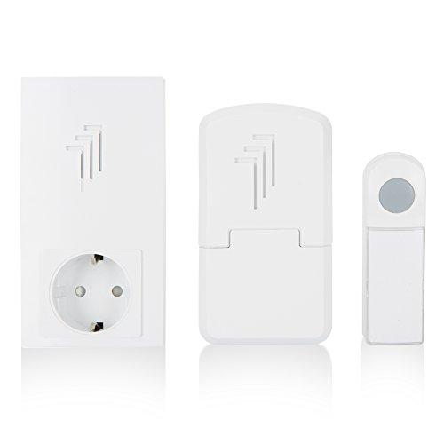 Elro draadloze deurbel met deurbel voor het stopcontact 1 x bel & 1 x draagbare & 1 x plug-in deurbel met doorgangsstopcontact.