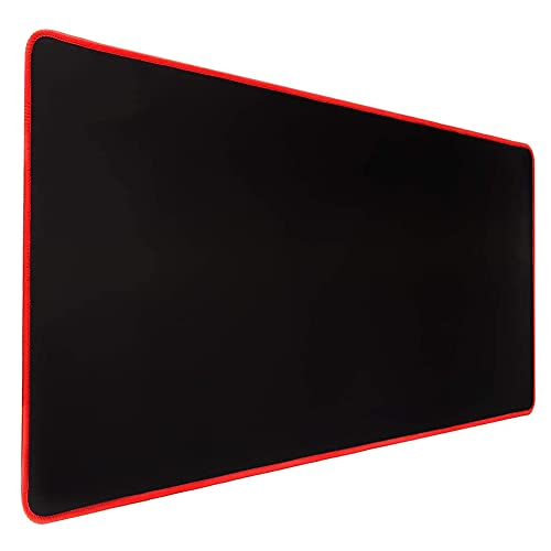 Large Gaming Mouse Pad with Stitched Edges, (23.6X11.8In) Durable Non-Slip Natural Rubber Base, Waterproof Computer Keyboard Pad Mat for Esports Pros/Gamer/Desktop/Office/Home (60x30cm Black/Red)