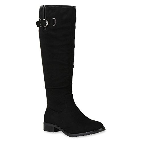 Damen Schuhe Klassische Stiefel Wildleder-Optik Leicht Gefütterte 150601 Schwarz Metallic Carlton 36 Flandell