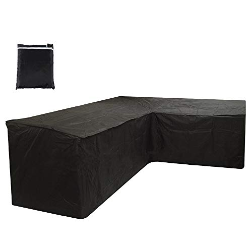 harupink L Shaped Garden Furniture Covers, Patio Waterproof Dustproof Protective Corner Sofa Cover with Storage Bag for Outdoor Patio Table and Chairs (215X215X87CM, Black)