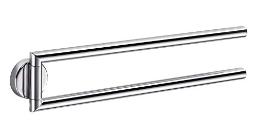 INDA A10150CR Gealuna Handtuchhalter doppelt, Messing, verchromt, 5 x 37 x 9 cm