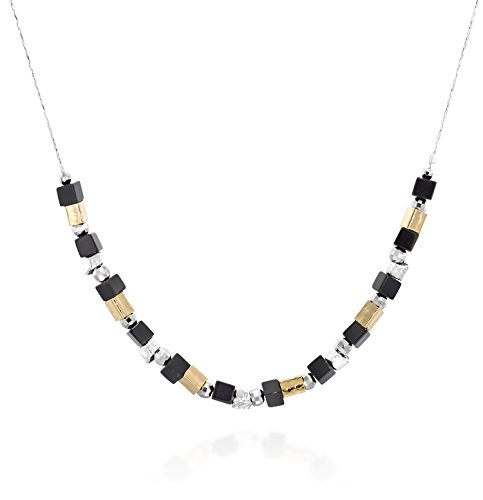 Black Onyx Beaded 925 Sterling Silver Necklace with Diamond Cut Silver Beads & Hammered Gold Plated Tubes