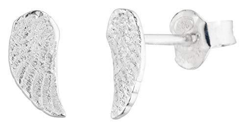 Laimons Orecchini da donna a forma di ali d'angelo, con piume opache lucide, 9 mm, in argento sterling 925