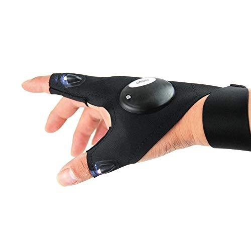 Glomixs LED linterna guantes luz sin dedos guantes de pesca al aire libre herramienta Gadgets regalos para reparar trabajo en oscuridad