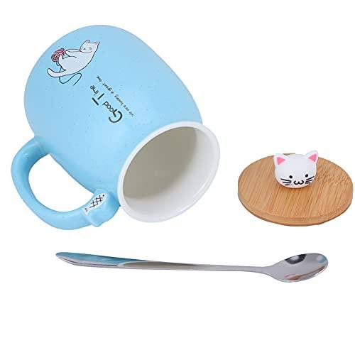 GUSTAR Taza de cerámica, Taza de café de diseño ergonómico con Cuchara de Acero Inoxidable para café, té, cóctel, champán, Cerveza, Jugo, refrescos y Otras Bebidas(Blue Spoon with Lid)