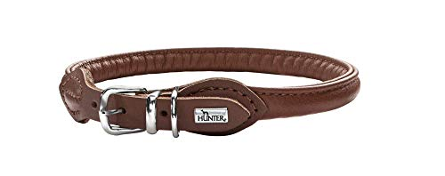 HUNTER Round & Soft Hundehalsband, Leder, Nappa, rundgenäht, weich, 35 (XS-S), braun
