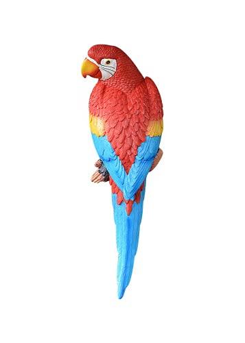 FOTBIMK Hängende Papagei Statue Skulptur DIY Papagei Statuen Hausgarten Dekor Ornamente Skulpturen Wandbehang Dekorationen Harz Tier für Patio Garten Baum Indoor Home Decor (rot a)