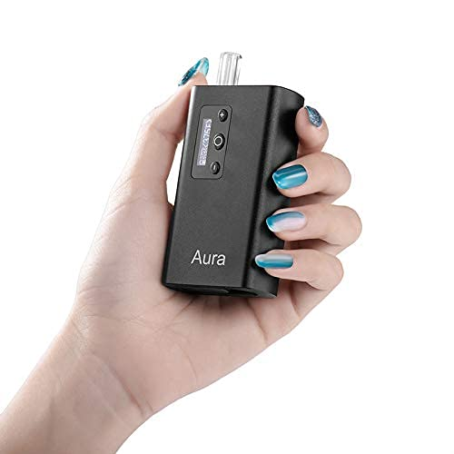 Aura Dry Herb Vaporizer Portable Premium Convection Vape Temp Control Ceramic Chamber OLED Display 20s Heat up Retractable Mouth Piece. (Black)