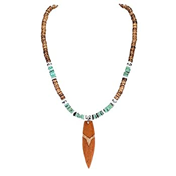 BlueRica Wood Surfboard Pendant on Tiger Coconut Beads & Green Heishi Shells Necklace